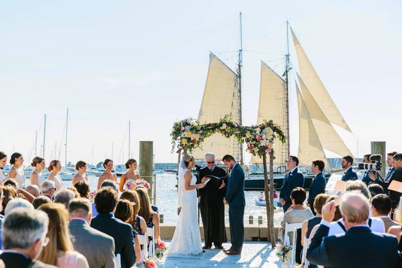 wedding ceremony on dock