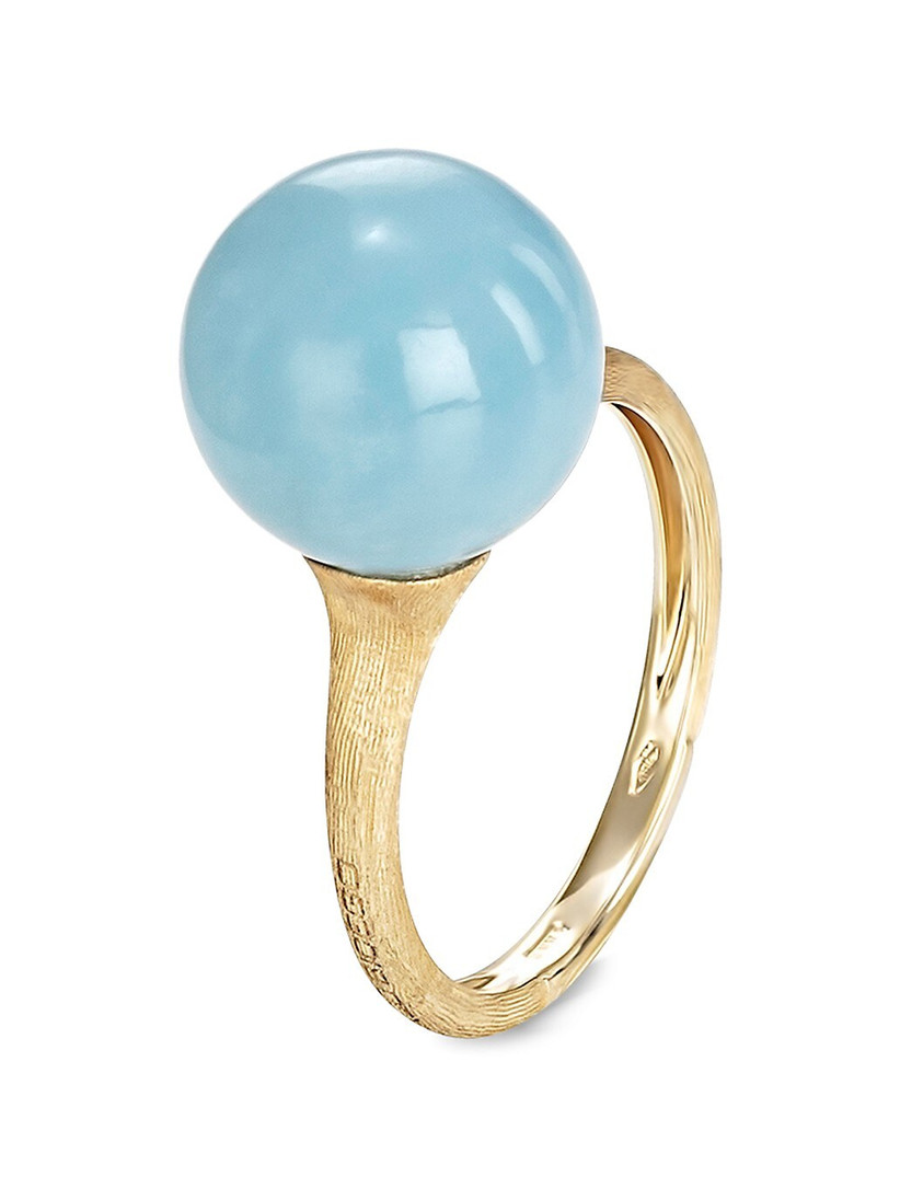 Unique aquamarine and yellow gold 19th anniversary ring gift