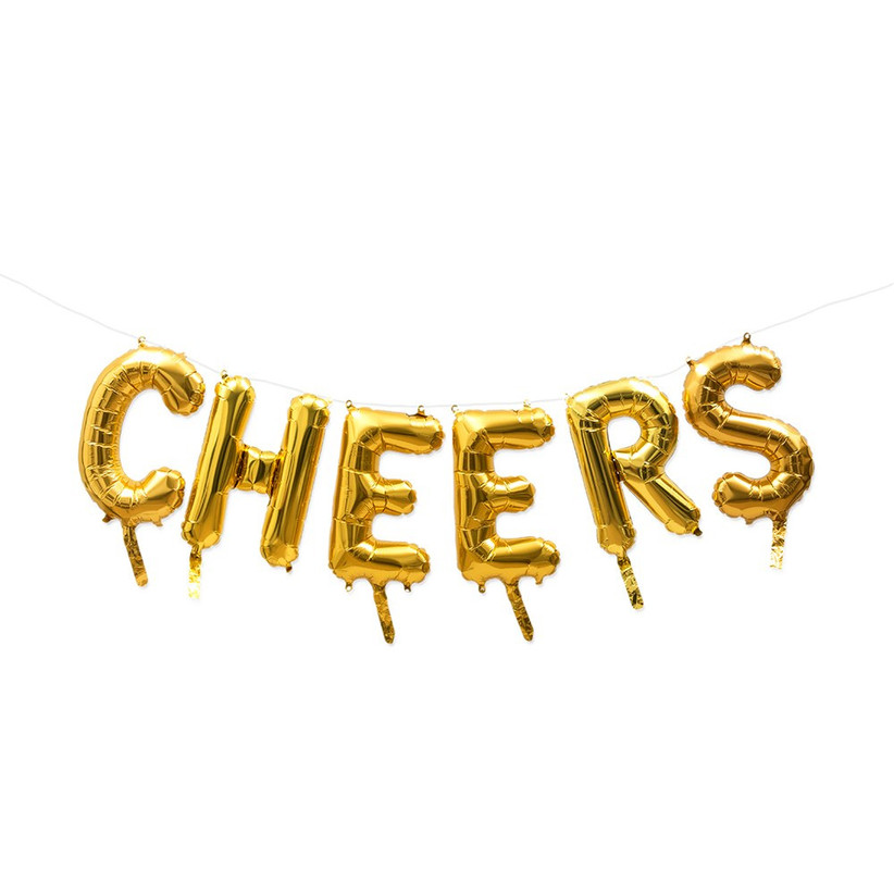 Gold foil letter balloons spelling CHEERS on a white background
