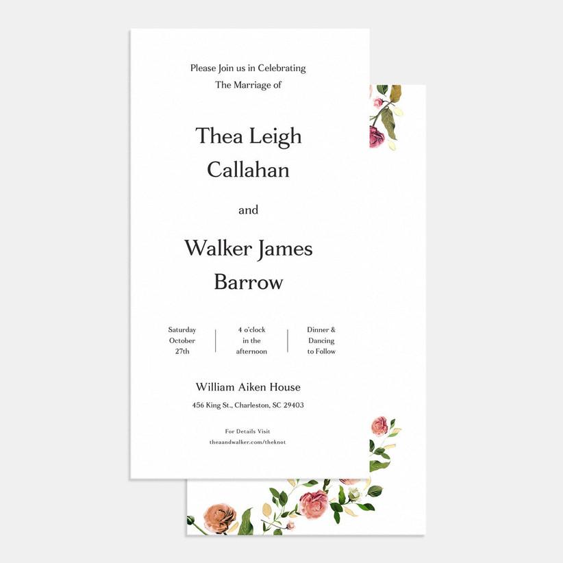Black and white inexpensive wedding invitation