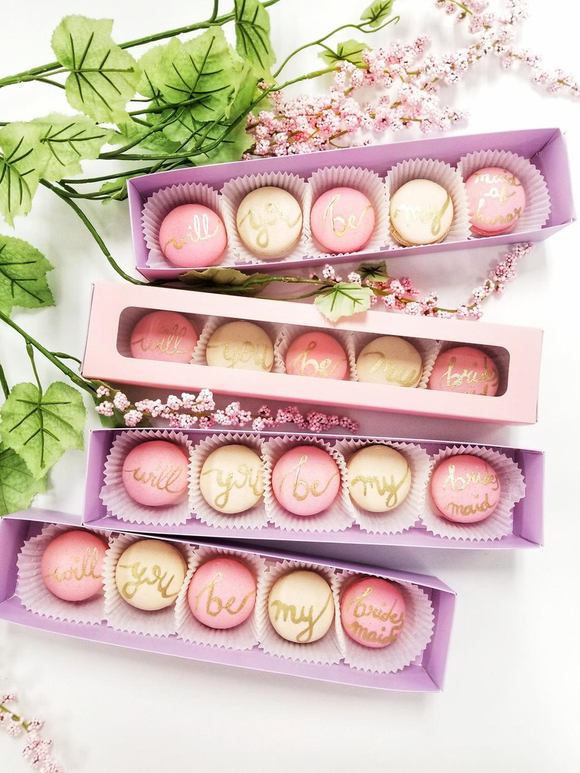 Will You Be My Maid of Honor macarons proposal gift