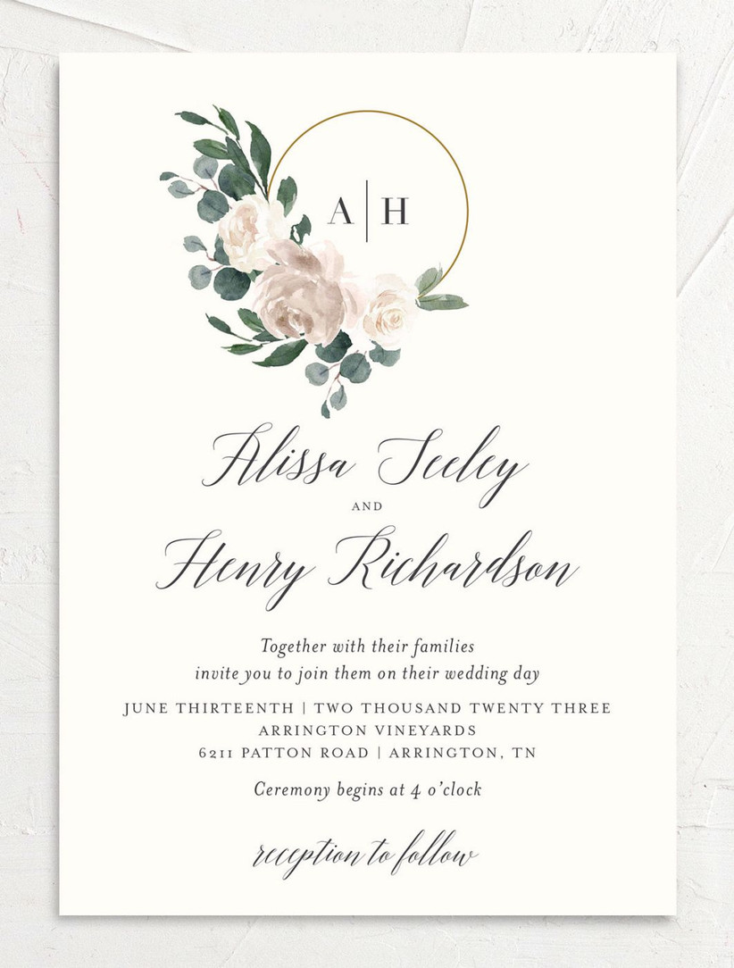 romantic fall wedding invitation with floral watercolor illustration and monogram