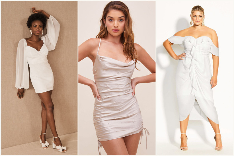 photo collage with models wearing white and cream colored bachelorette party dresses