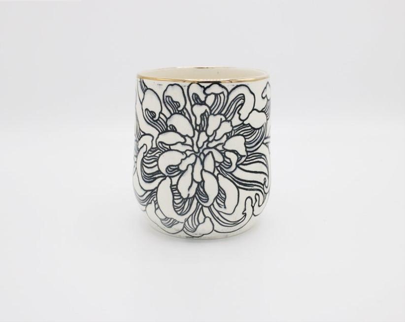 etsy chrysanthemum flower wine cup for 13th year wedding anniversary gift