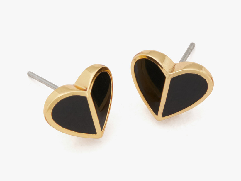 Black and gold heart-shaped stud bridesmaid earrings