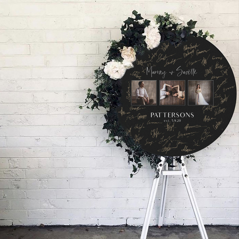 Circular wood poster with engagement photos unique guest book idea
