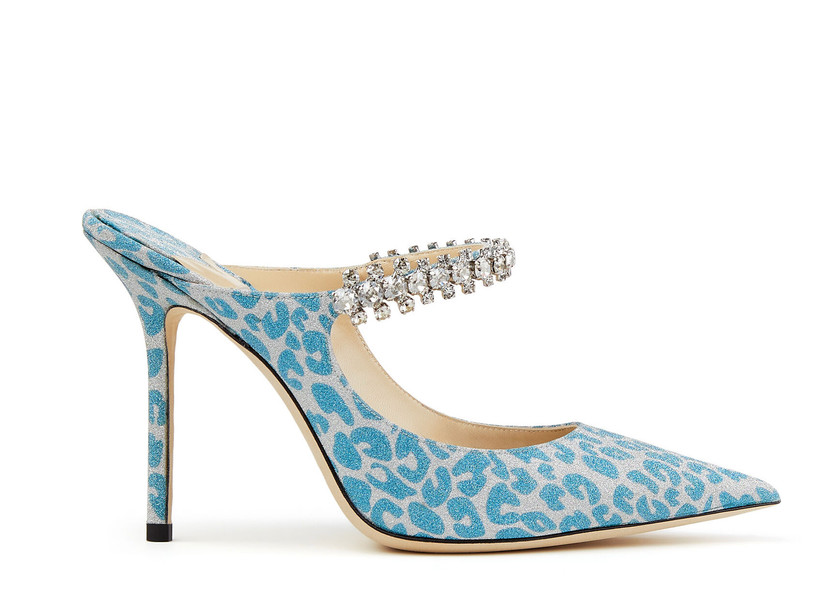 mule high heel with blue leopard print pattern and rhinestone strap