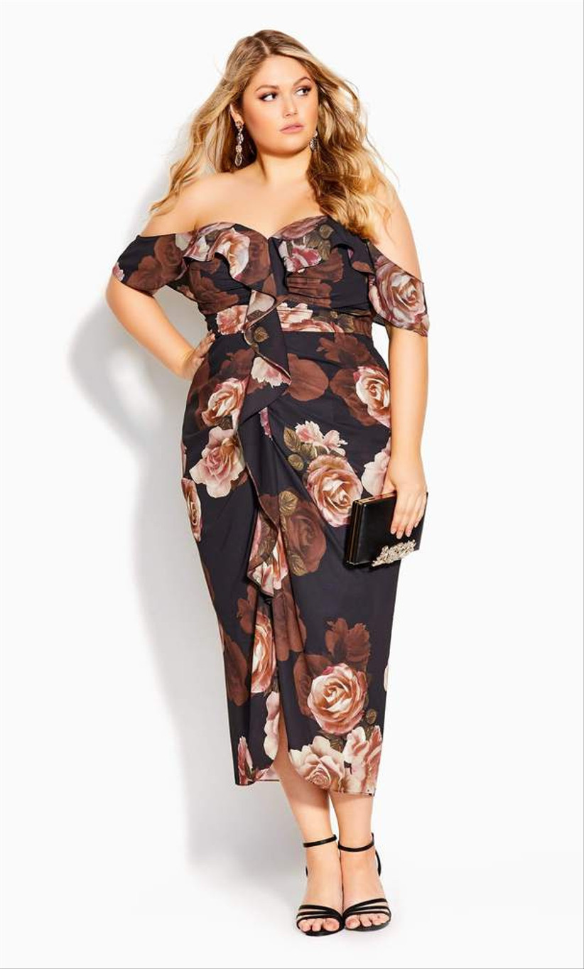 plus-size engagement party dress off-the-shoulder neckline with allover oversized rose print in burgundy black and pink