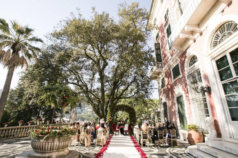 outdoor wedding ceremony at historic italy wedding venue estate