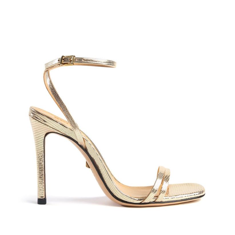 minimalist metallic gold stiletto sandal