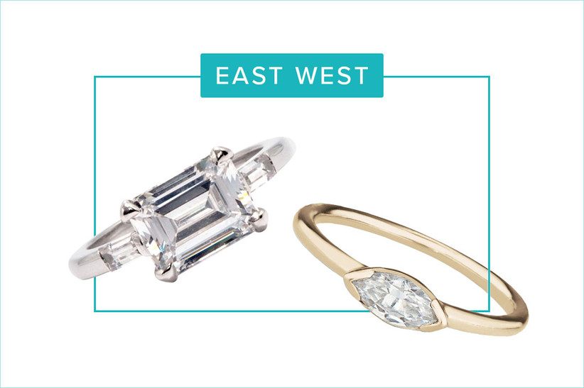 emerald and marquise east/west style engagement rings