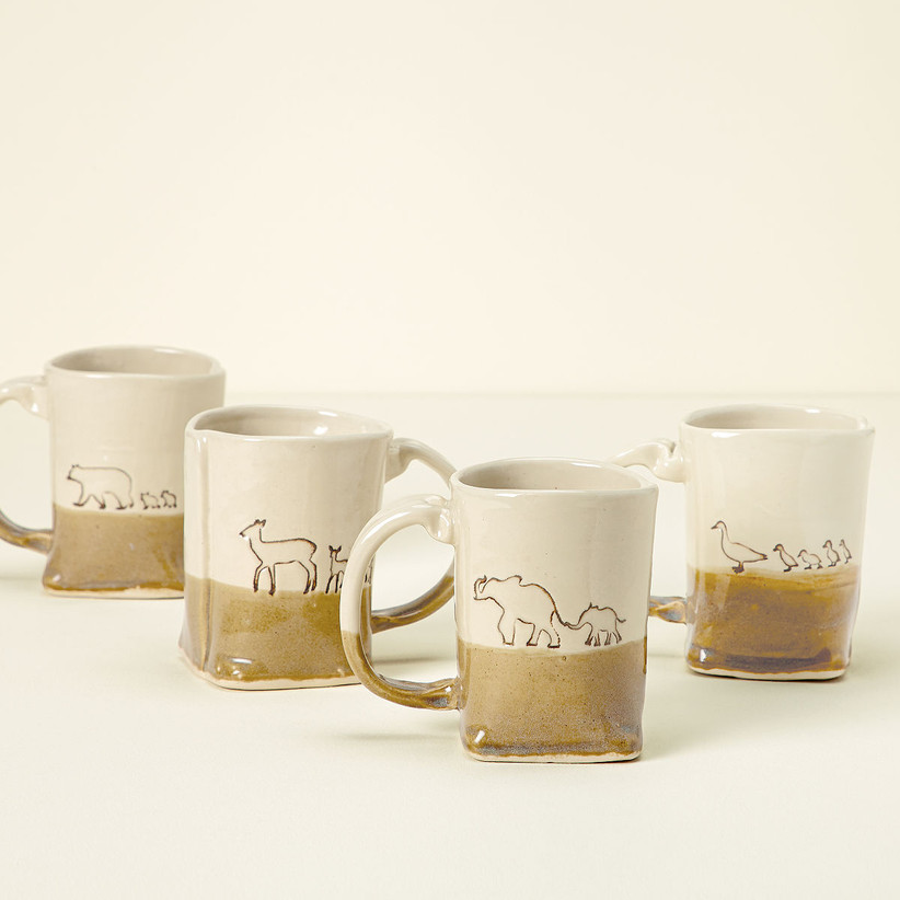Selection of animal motif coffee mugs resembling a mother's love
