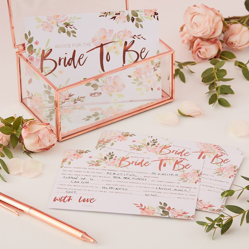 Rose gold Bride to Be advice cards and box