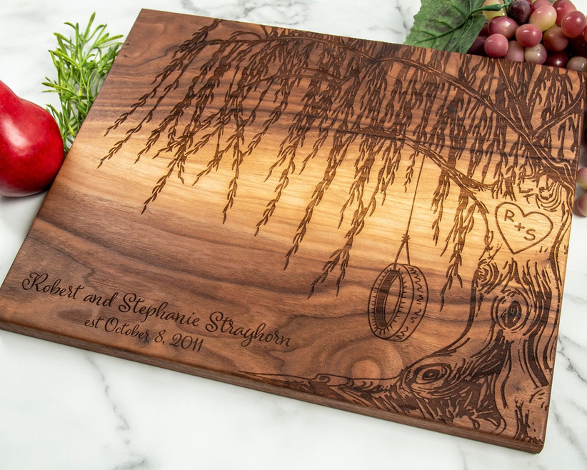 Wooden serving board with engraving of stunning willow tree, couple's names, and a special date