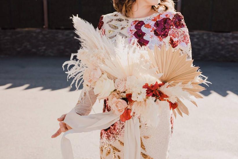 boho dried flower summer wedding bouquet