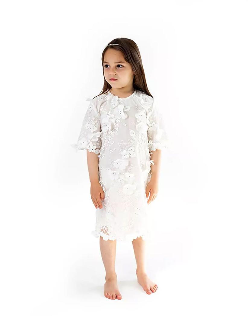 white midi length kids dress