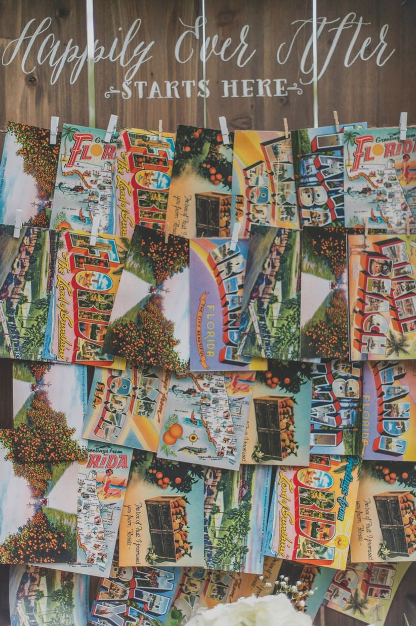 travel themed wedding decor display of vintage postcards