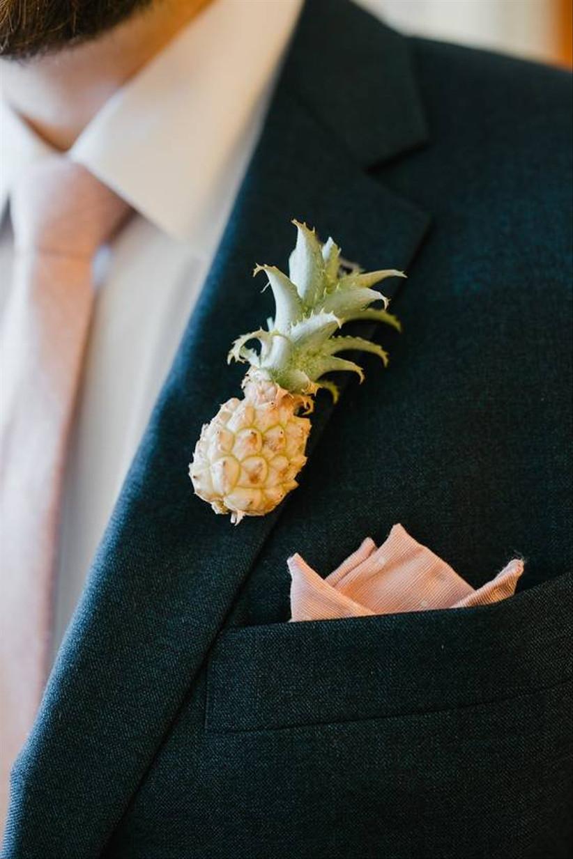 miniature pineapple wedding boutonniere
