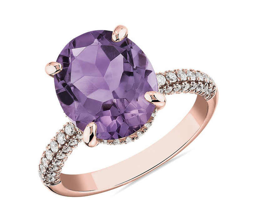 amethyst ring on rose gold band