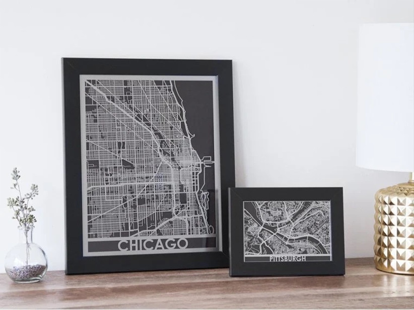 city map print for 11th year wedding anniversary gift