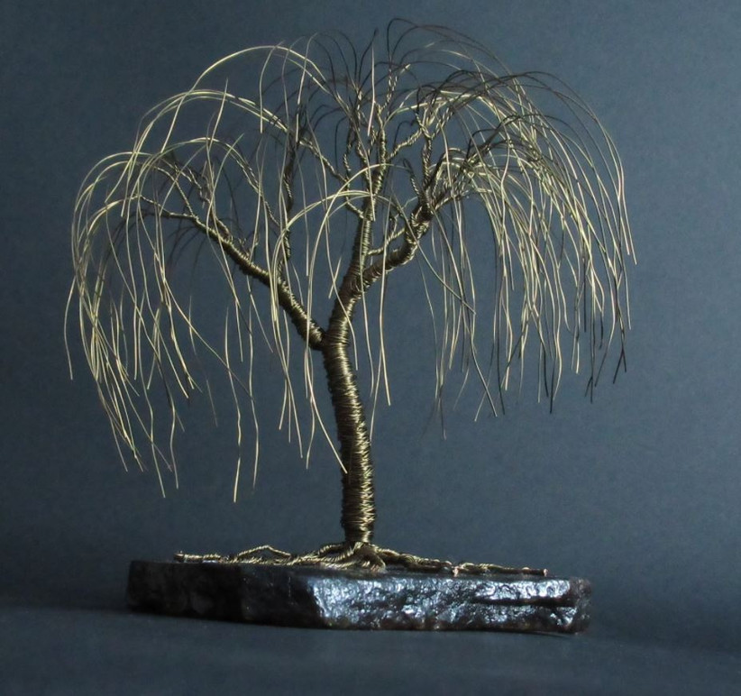 Bronze willow tree sculpture traditional 19th anniversary gift