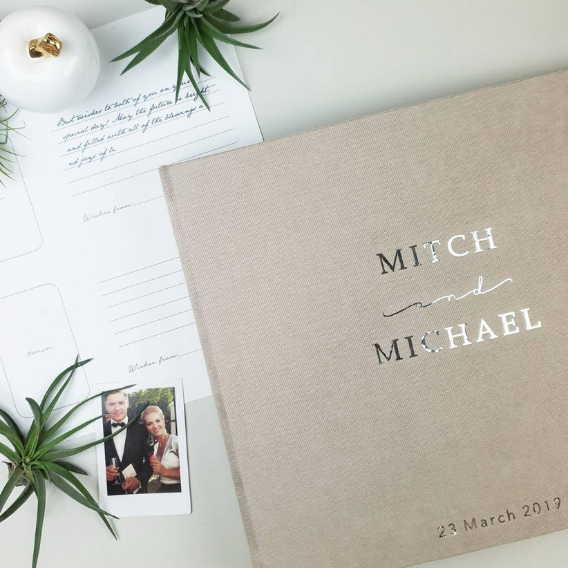 Personalized wedding guest book and photo album for instant camera guest book idea