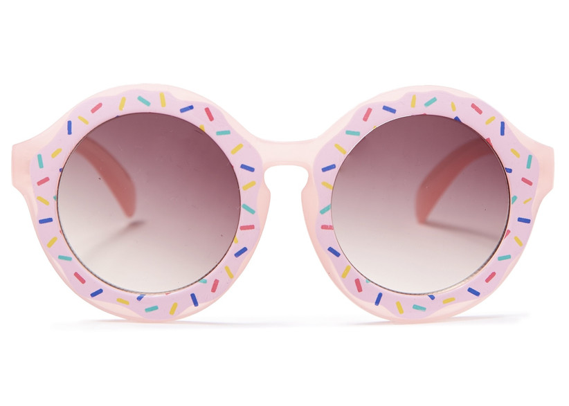 round sunglasses decorated with pink details to look like rainbow sprinkle doughnut
