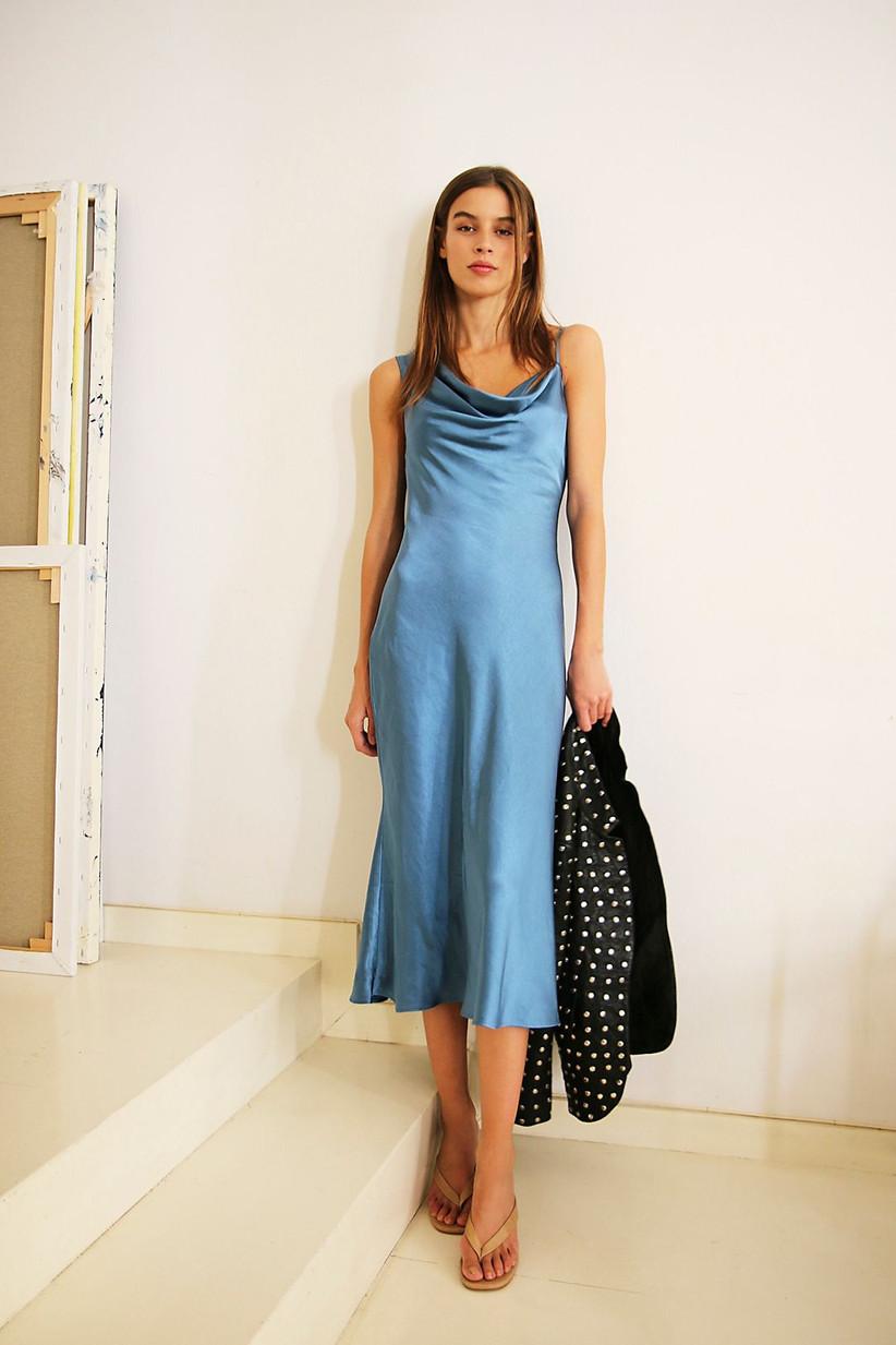 Blue midi rehearsal dinner dress