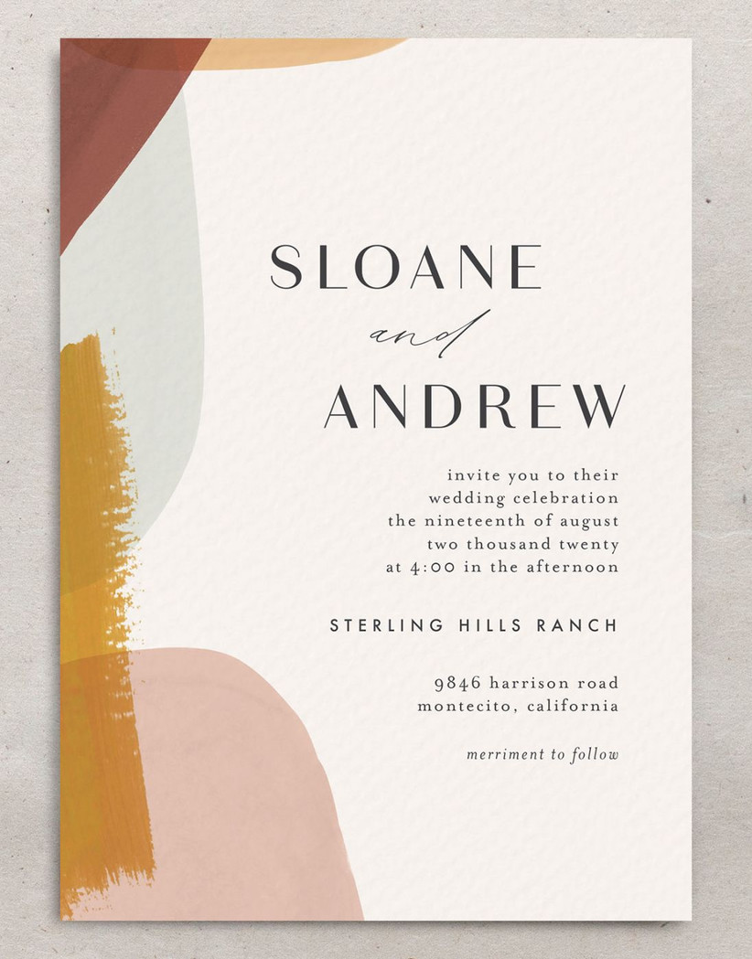 boho unique fall wedding invitation with abstract brushstroke shapes in yellow teal pink