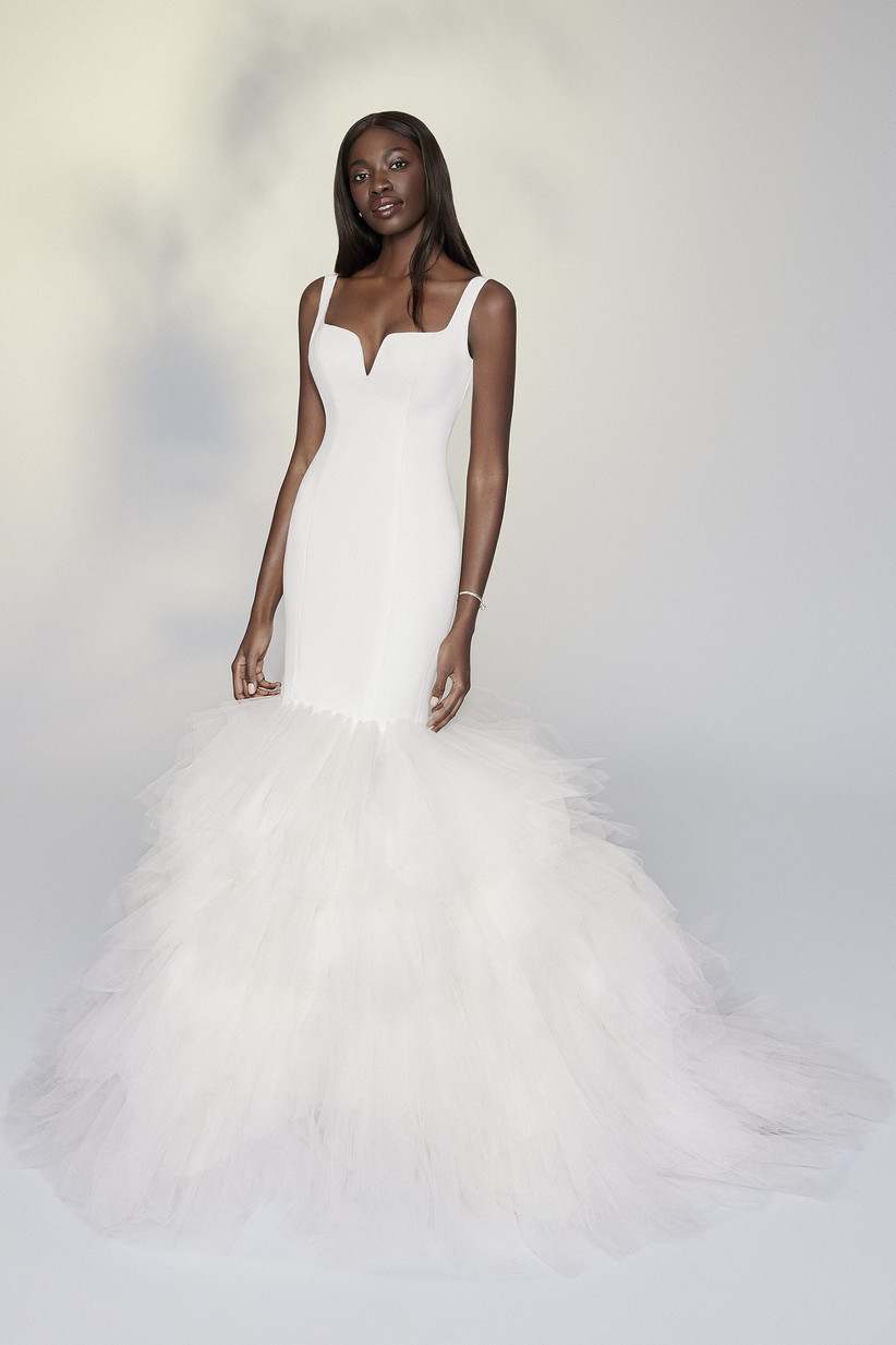 mermaid wedding gown with tulle ruffle skirt and sweetheart neckline