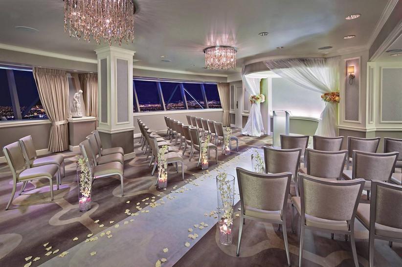 modern las vegas wedding chapel at hotel penthouse overlooking the strip