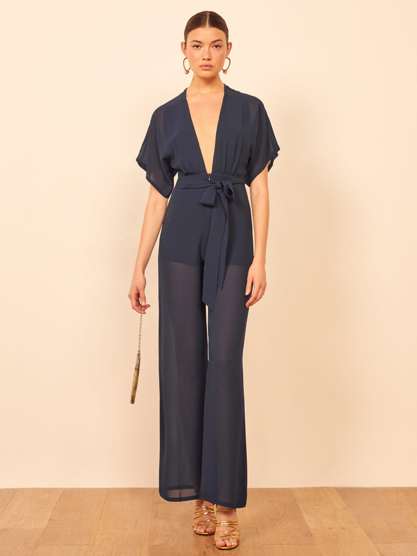 sheer bridesmaid jumpsuit with flutter sleeves