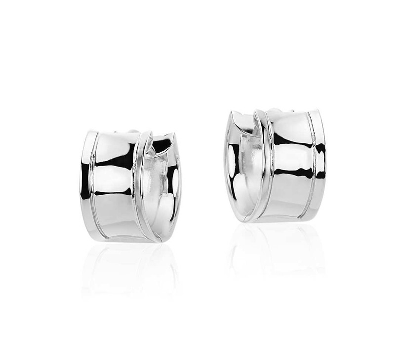 Wide silver huggie hoop bridesmaid earrings