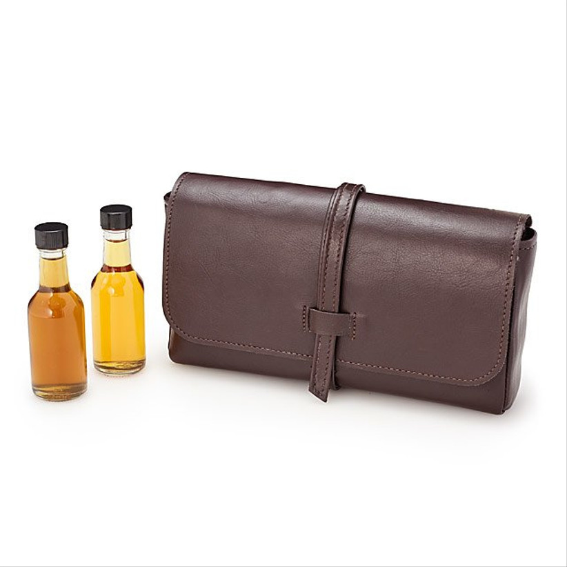 leather pouch with two mini liquor bottles