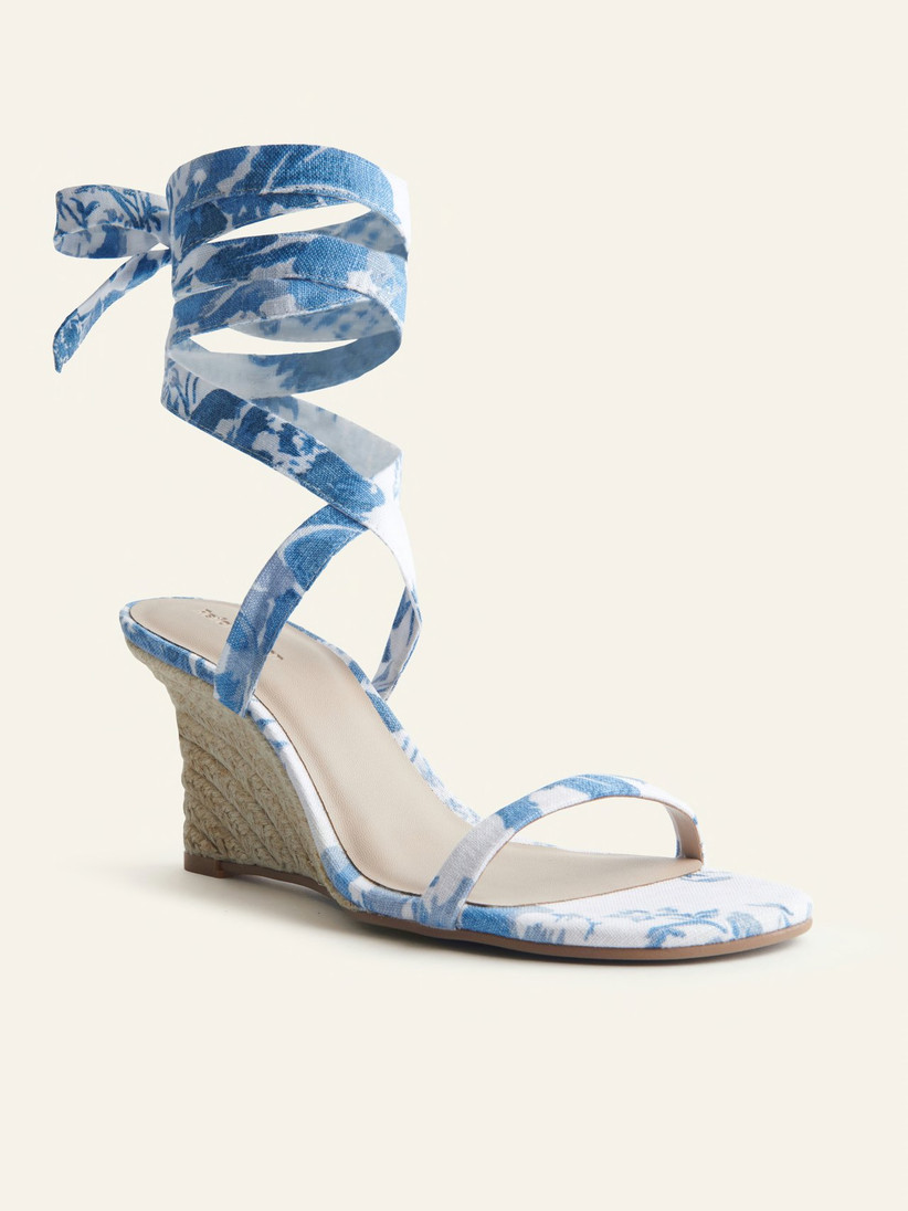 lace-up wedge sandal with blue and white floral print straps