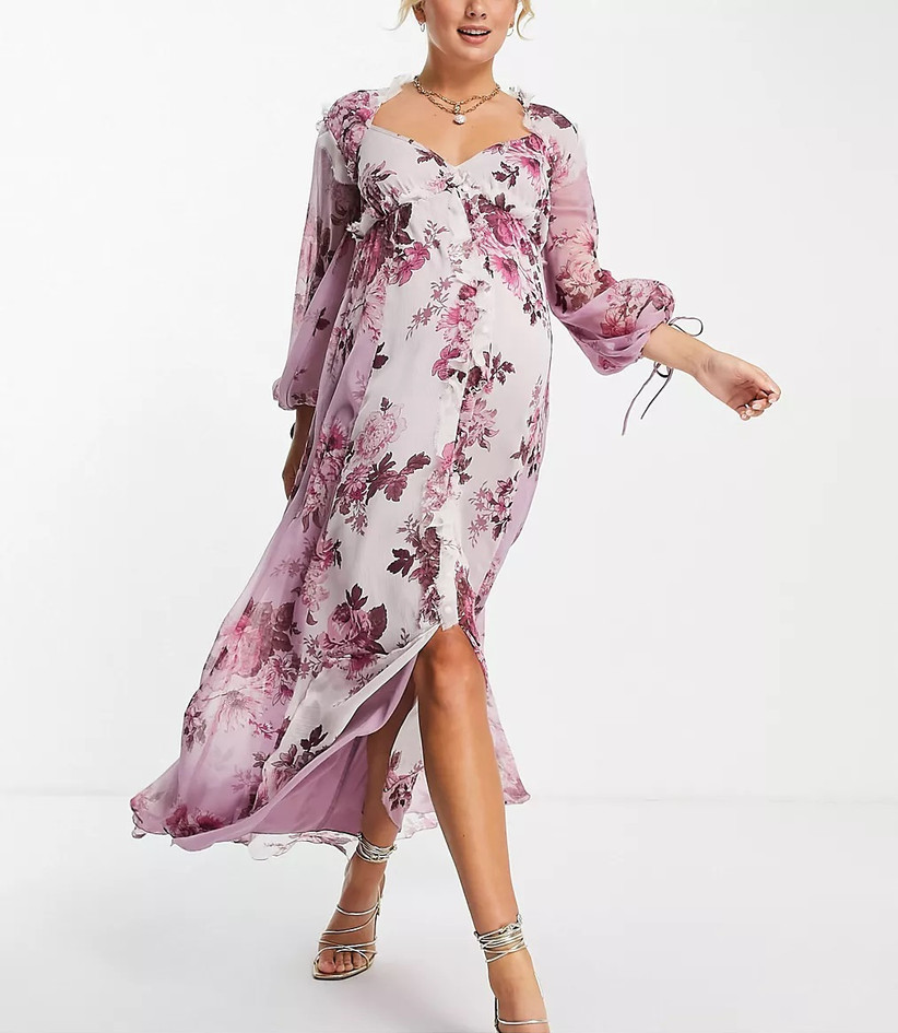 Pink floral maternity cocktail wedding guest dress