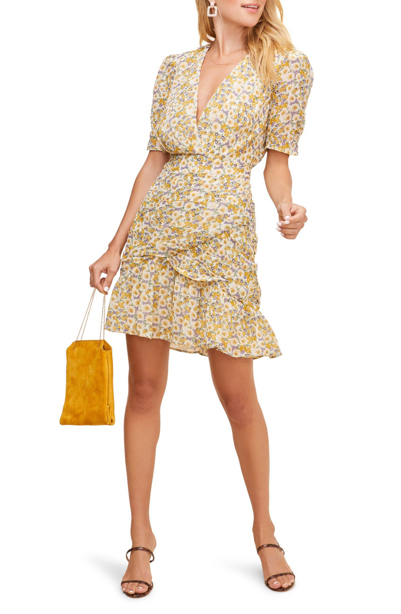 short engagement party dress yellow floral print with ruched sleeves and ruffled skirt