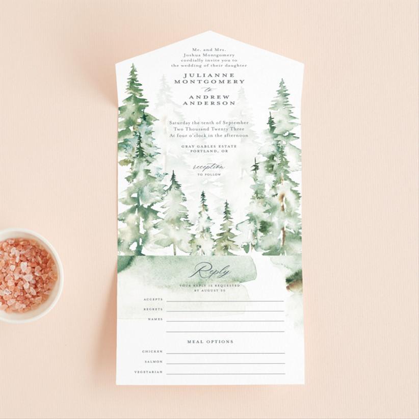 green winter wedding invitations