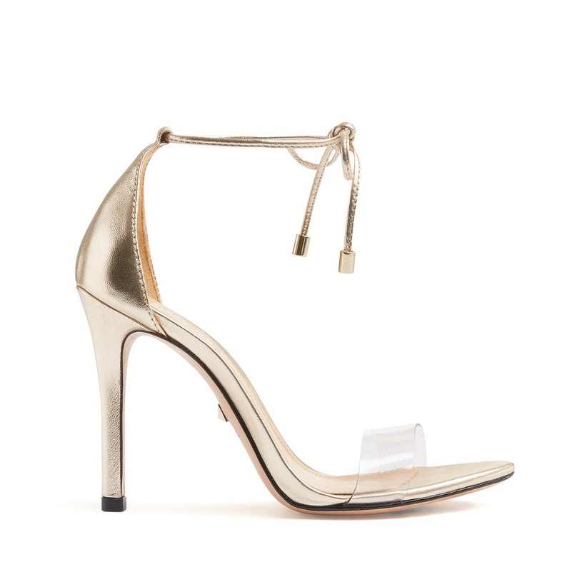 gold stiletto sandal with clear toe strap and tie ankle strap