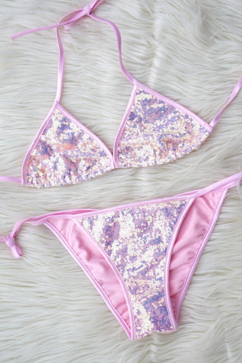 pink allover sequin bikini triangle top and high-cut string bottoms