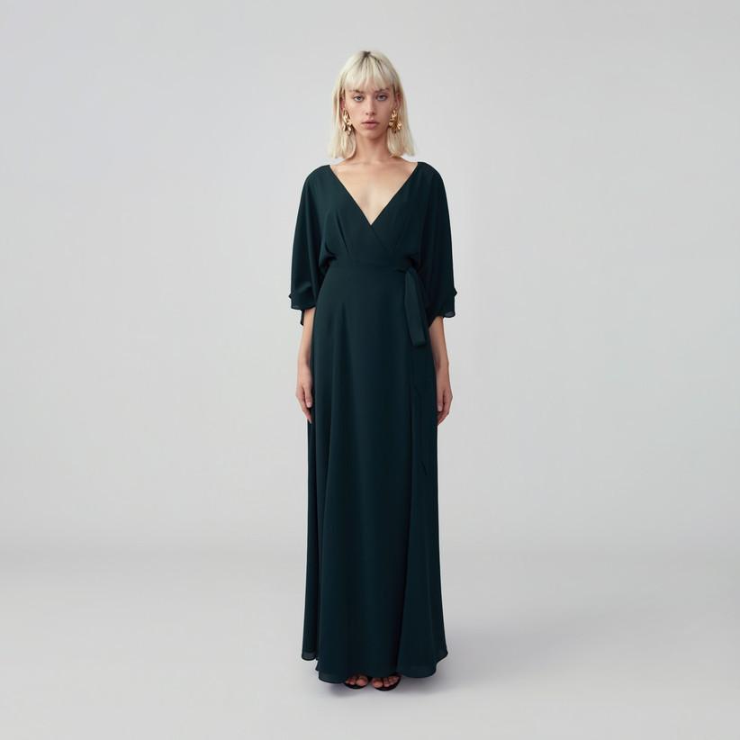 Forest green long-sleeve dress
