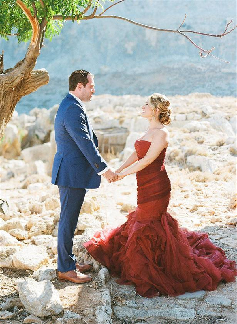 red tulle wedding dress