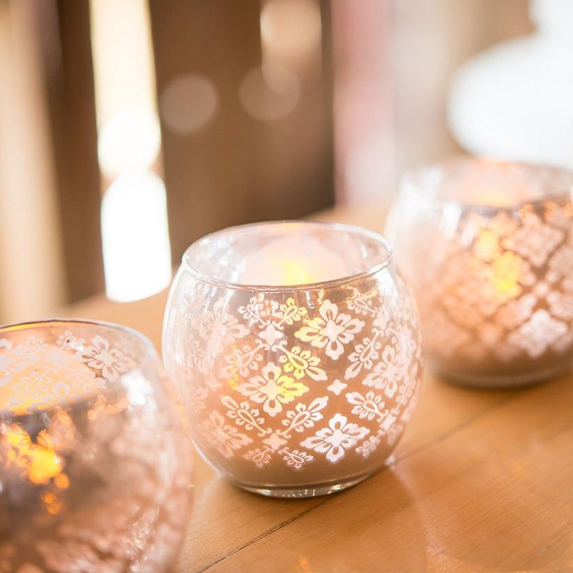 Three elegant rose gold votive candle holders