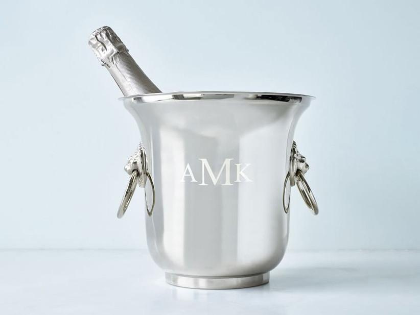 Silver monogrammed ice bucket 16th anniversary gift idea