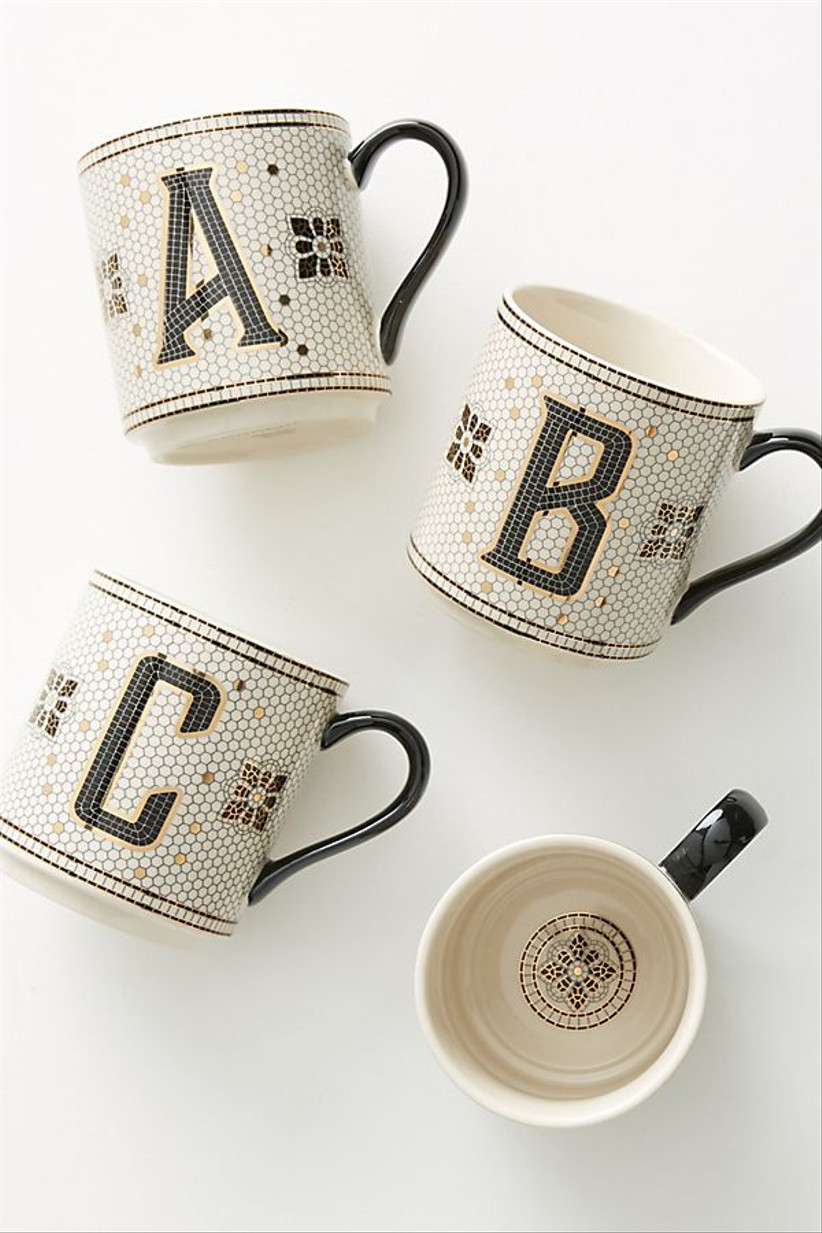 monogrammed black and white mugs