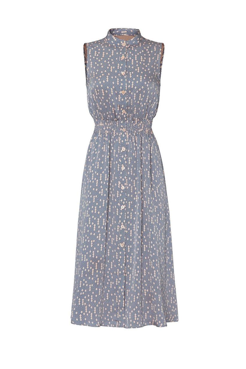 sleeveless button-down shirt dress chambray blue with pale orange polka dot and geometric print