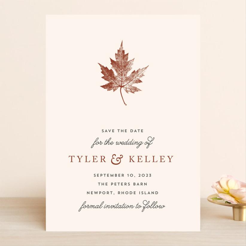 fall save the date leaf print