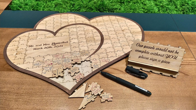 Heart-shaped wooden puzzle non-traditional guest book alternative