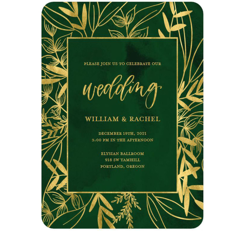 Emerald green and gold affordable wedding invitation