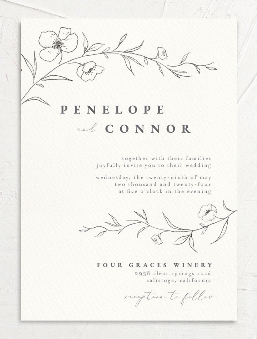 modern spring wedding invitations with minimalist gray flower motif